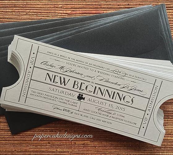 Amazon Com Vintage Wedding Invitation Ticket With Envelope Handmade