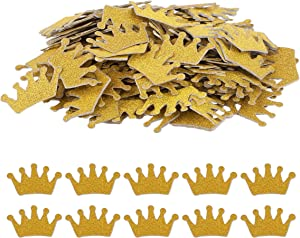Haley Party Gold Crown Confetti Party Table Confetti Baby Shower Confetti for Baby Shower Boy Girl Princess Party Favor Décor and Table Decor (1.2 Inch, Double-sided, 200PCS)