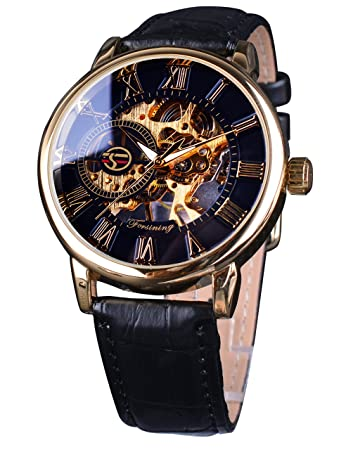 afebd090ea9 Image Unavailable. Image not available for. Color  Forsining Royal Roman  Number Men Watch Top Brand Luxury Skeleton Mechanical Watch