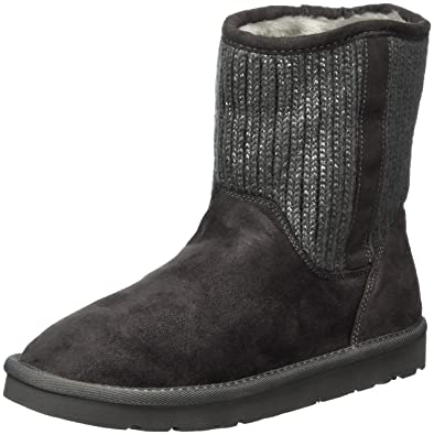 Fritzi aus Preußen Damen Bentja Knitted Fur Boot Schlupfstiefel, Grau (Carbone), 37 EU