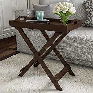 Lavish Home End Folding Modern Wooden Contemporary Side Table, Brown