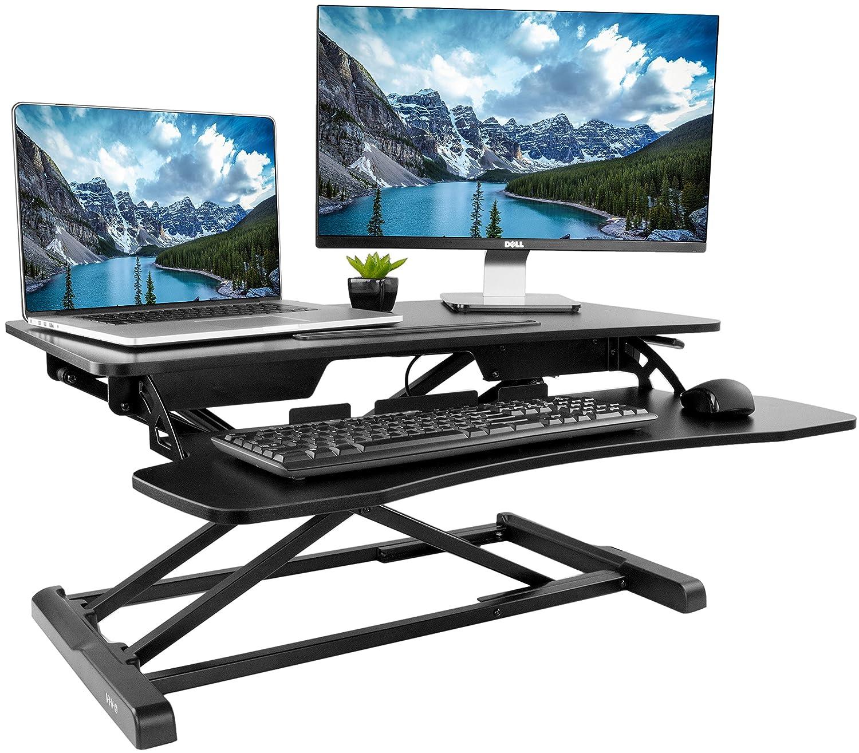 VIVO Height Adjustable Standing Desk Sit to Stand Gas Spring Riser Converter | 32 Tabletop Workstation fits Dual Monitor (DESK-V000K)