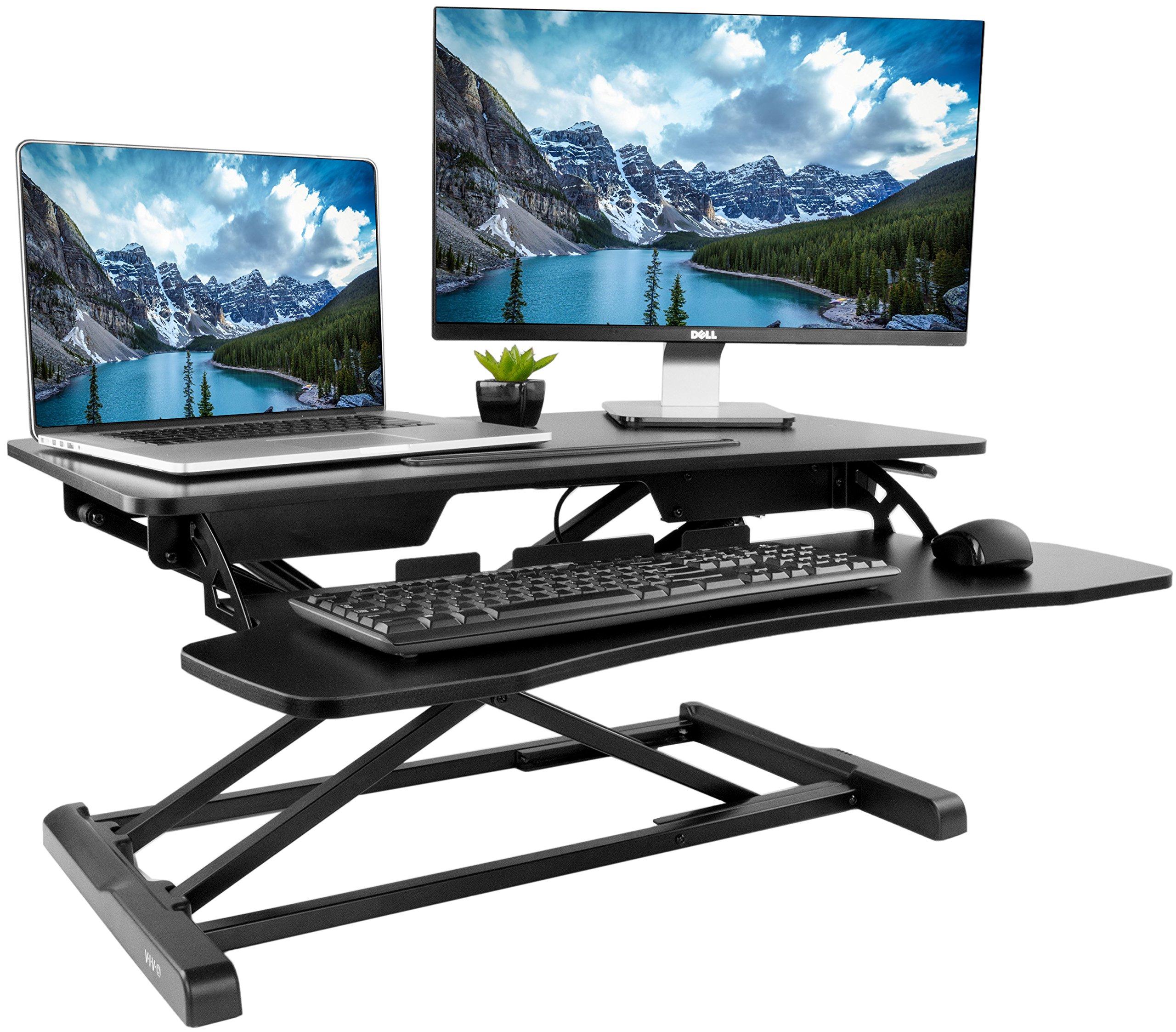 VIVO Height Adjustable Standing Desk Sit to Stand Gas Spring Riser Converter   32'' Wide Tabletop Workstation fits Dual Monitor (DESK-V000K)