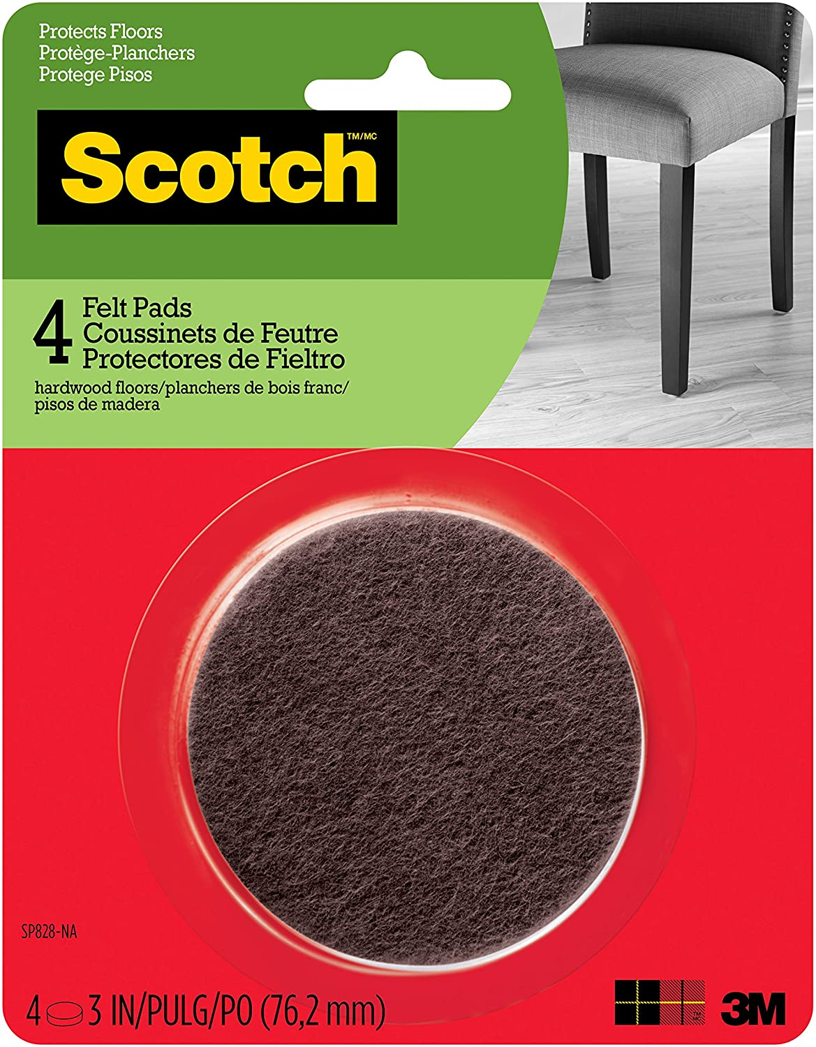 Scotch Mounting, Fastening & Surface Protection SP828-NA Scotch Felt Pads Round, 3 in. Diameter, Brown, 4/Pack