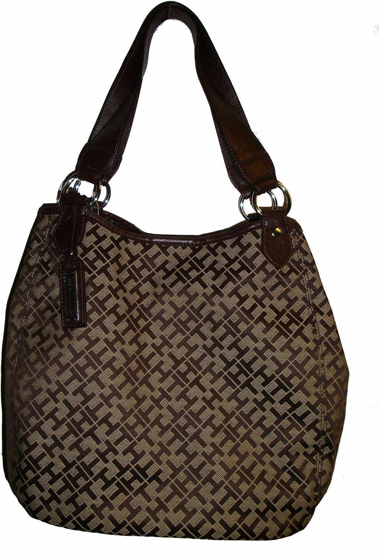 Tommy Hilfiger Womens Round Tote Handbag Chocolate Logo