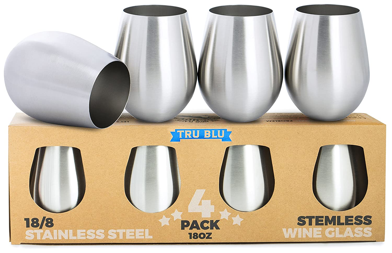 Amazon.com | Stainless Steel Wine Glasses - Set of 4 Large & Elegant ...