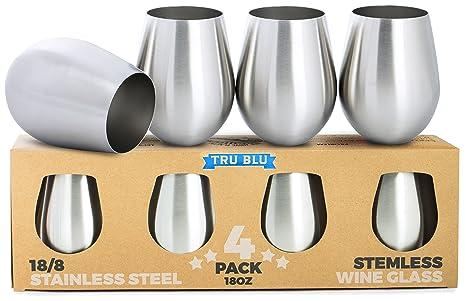 Copas de vino de acero inoxidable, sin tallo – Juego de 4 elegantes vasos para vino de tamaño grande, 500 ml – Juego de vasos de metal irrompibles, a ...
