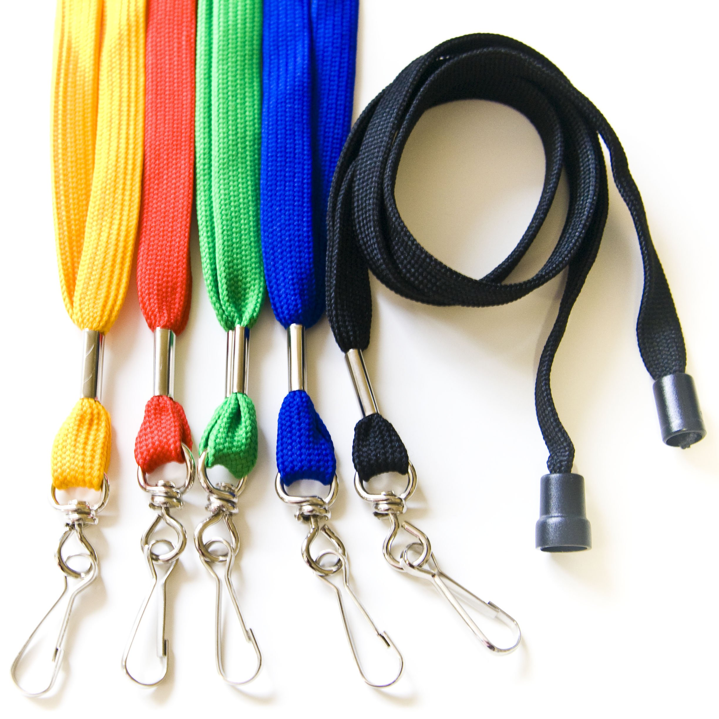 100PCS 1/2'' Breakaway ID Neck Lanyards with Swivel J Hook for ID Cards/Badges (Assorted Color) by OnDepot.com