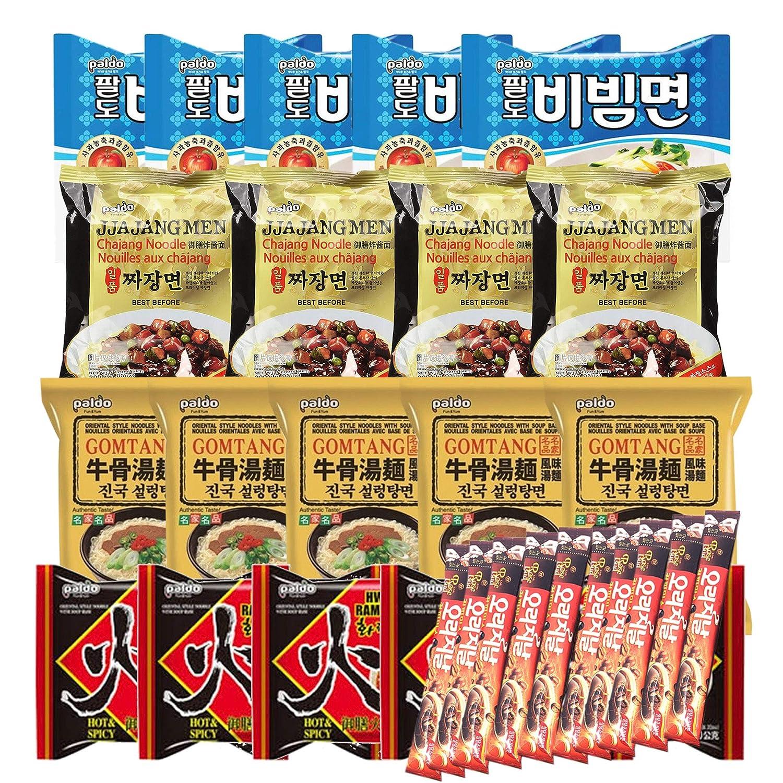 Korean Hit K-Foods Paldo Noodle Ramen Variety Pack w/ Instant Coffee Mix Box, Bibimmen, Jjajangmen, Gomtang Ramen, Hwa Ramen, Pack of 29