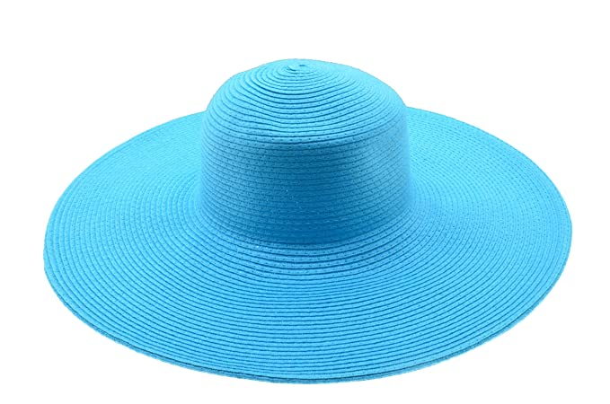 Wide Women Colorful Derby Large Floppy Folderable Straw Beach Hat (Baby  Blue) b1c2bf8425b