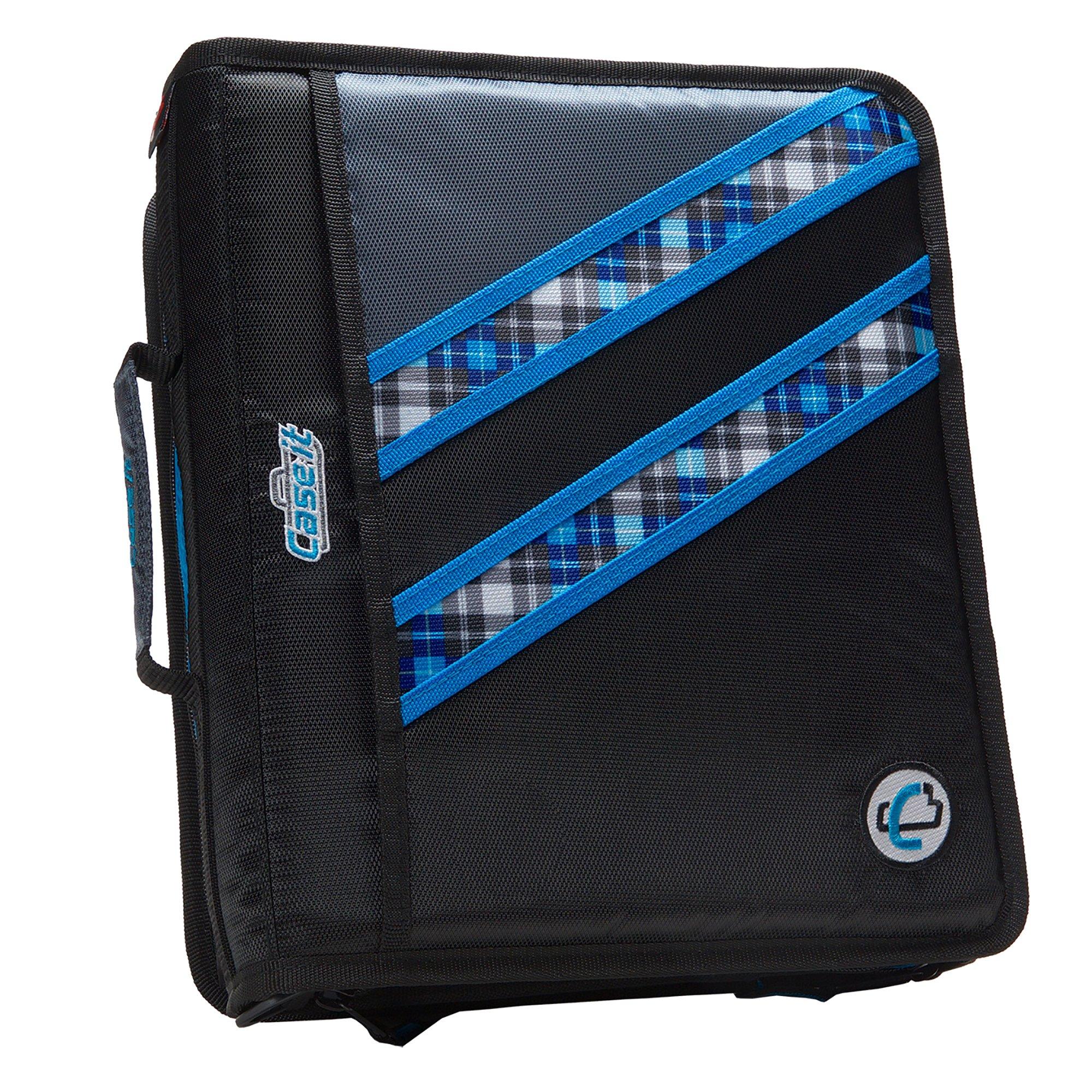 Case-it Z-Binder Two-in-One 1.5-Inch D-Ring Zipper Binders, Blue Plaid, Z-177-NEOBLU