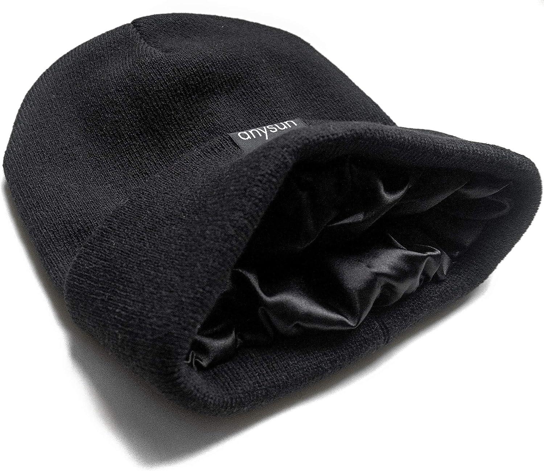 Men Sensitive Skin Slouchy Women Winter Cap anysun Satin Lined Beanie 100/% Silky Satin