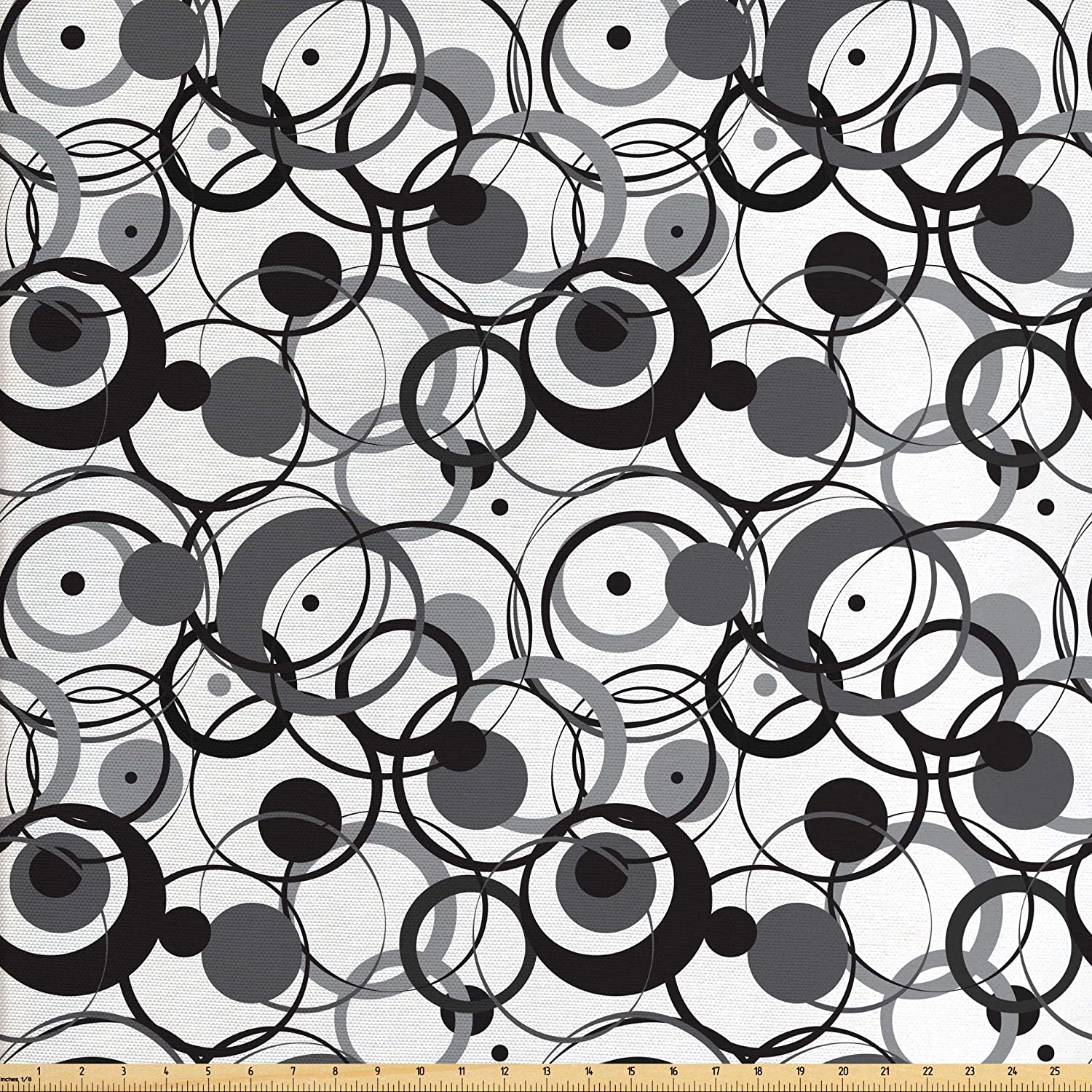 Ambesonne Abstract Fabric by The Yard, Monochrome Circles Dots Surreal Expressionism Inspired Geometric Modern Art, Decorative Fabric for Upholstery and Home Accents, 1 Yard, Monochrome