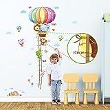 Decowall DM-1606 Ruban Mesureur Montgolfière Animaux Autocollants Muraux Mural Stickers Chambre Enfants Bébé Garderie Salon