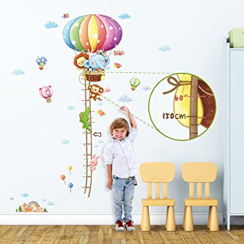 Decowall DM 1606 Animal Hot Air Balloon Height Chart Kids Wall Decals Wall  Stickers Peel