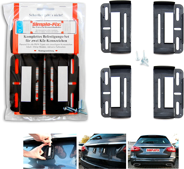 Kennzeichenhalter Kennzeichenträger Simple Fix Rahmenlos Für Auto Satz 2 Stück Leicht Zu Montieren 52 5cm X 13cm Und Kurze Kennzeichen 30 5cm X 11 5cm Auto