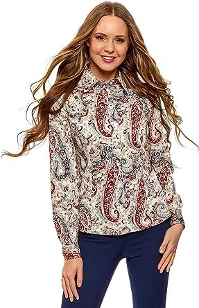 oodji Collection Mujer Camisa de Algodón con Estampado ...