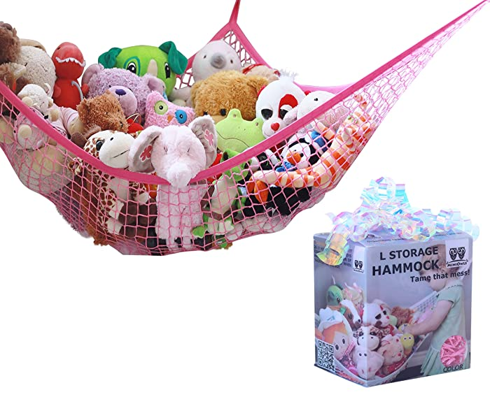 MiniOwls Toy Storage Hammock Plush Toy Organizer for Kids – Fits 20-30 Soft Teddies, Girl's Bed or Playroom Decor (Pink, Large)