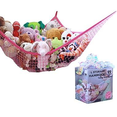 MiniOwls Toy Storage Hammock - Premium Net for Plush Animals or Playroom Organization. Decorative Wall Corner Organizer for Kids Room (Pink, Large)