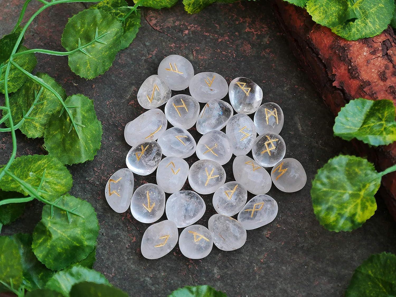 Amethyst Crystal Quartz Rune Stone Natural Healing Reiki stones 25 Pcs