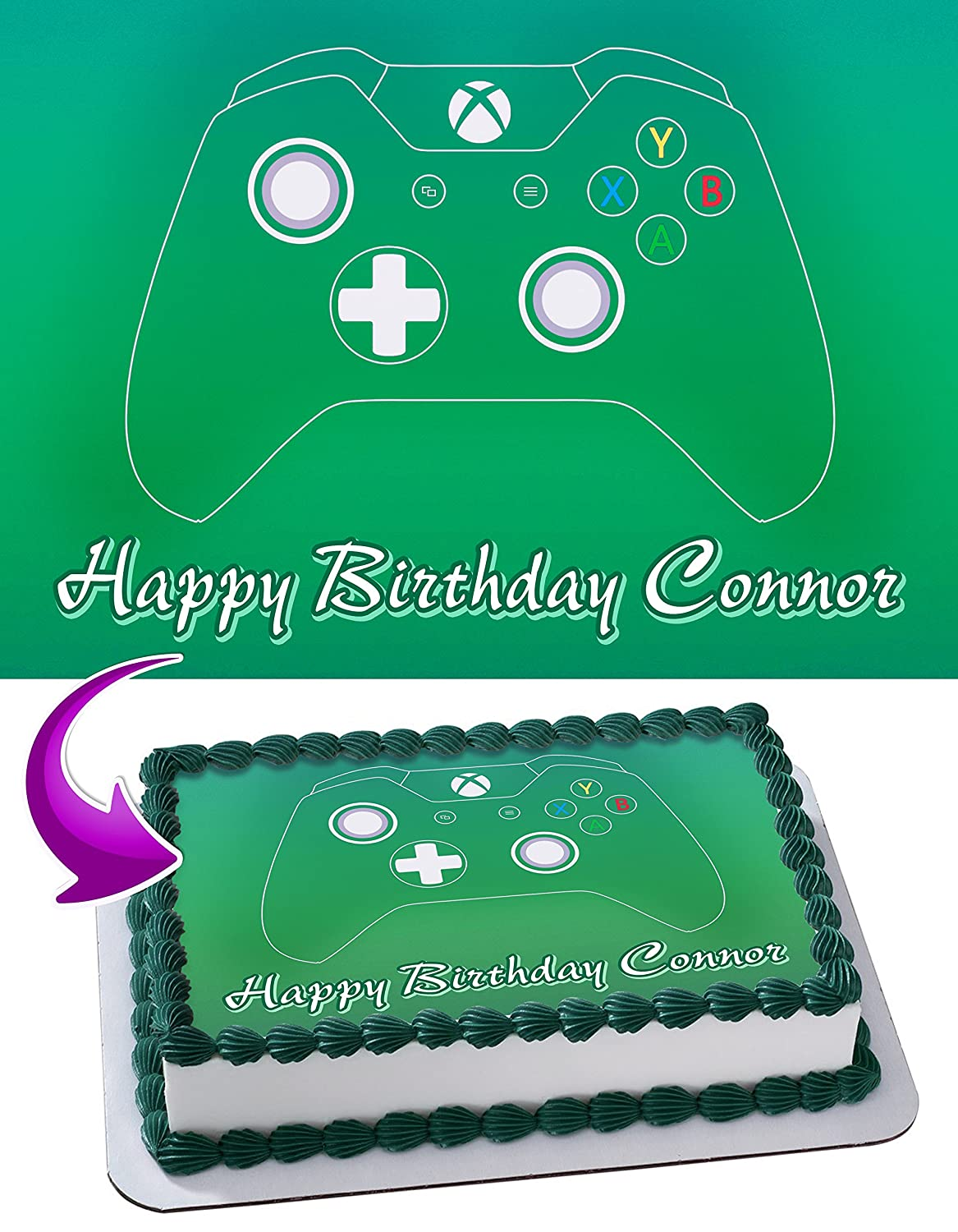 Xbox Edible Cake Image Topper Personalized Icing Sugar Paper A4