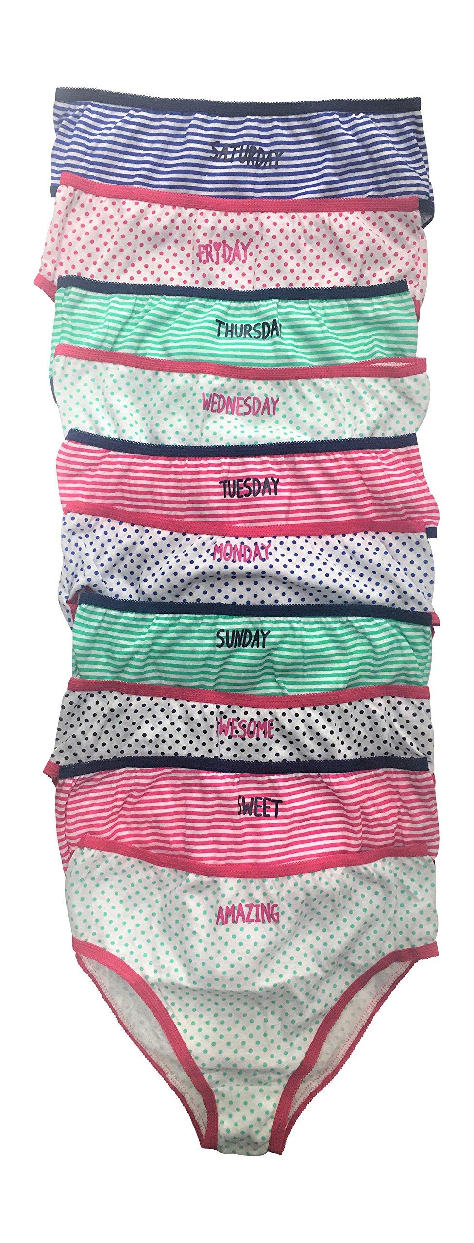 Simply Adorable Girls Girls Week Fun Day 100% Cotton 10-Pack Bikini Underwear Panties Size 4-12 (4)