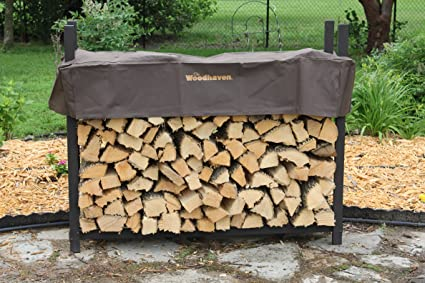 the woodhaven 5ft brown firewood rack with cover - Firewood Rack