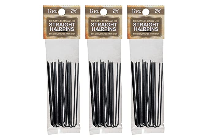 """Amish Made Straight Heavy Duty  2 1//2 /"""" Stainless Steel Hairpins  3 PACKS"""