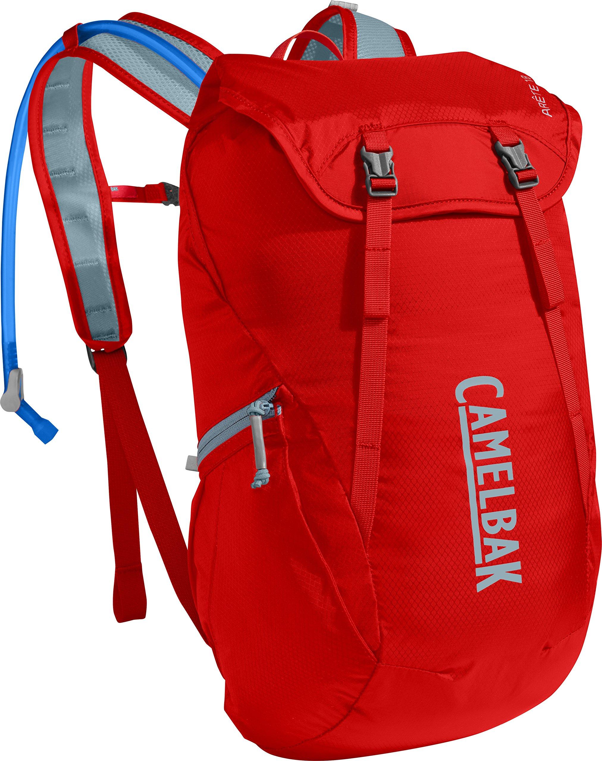 CamelBak Arete 18 Crux Reservoir Hydration Pack, Fiery Red/Stone Blue, 1.5 L/50 oz