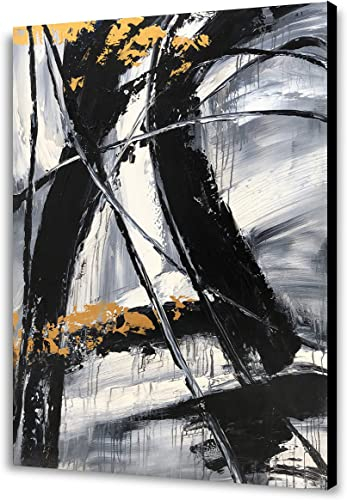 Yihui Arts Easy Painting Black and White Abstract Contemporary Painting Large Wall Art Canvas Pictures Modern Japanese Office Decor 36x48IN