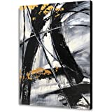 Yihui Arts Black and White Wall Art Abstract Oil Painting Large Art Canvas Pictures Modern Home Decor (28x40IN)