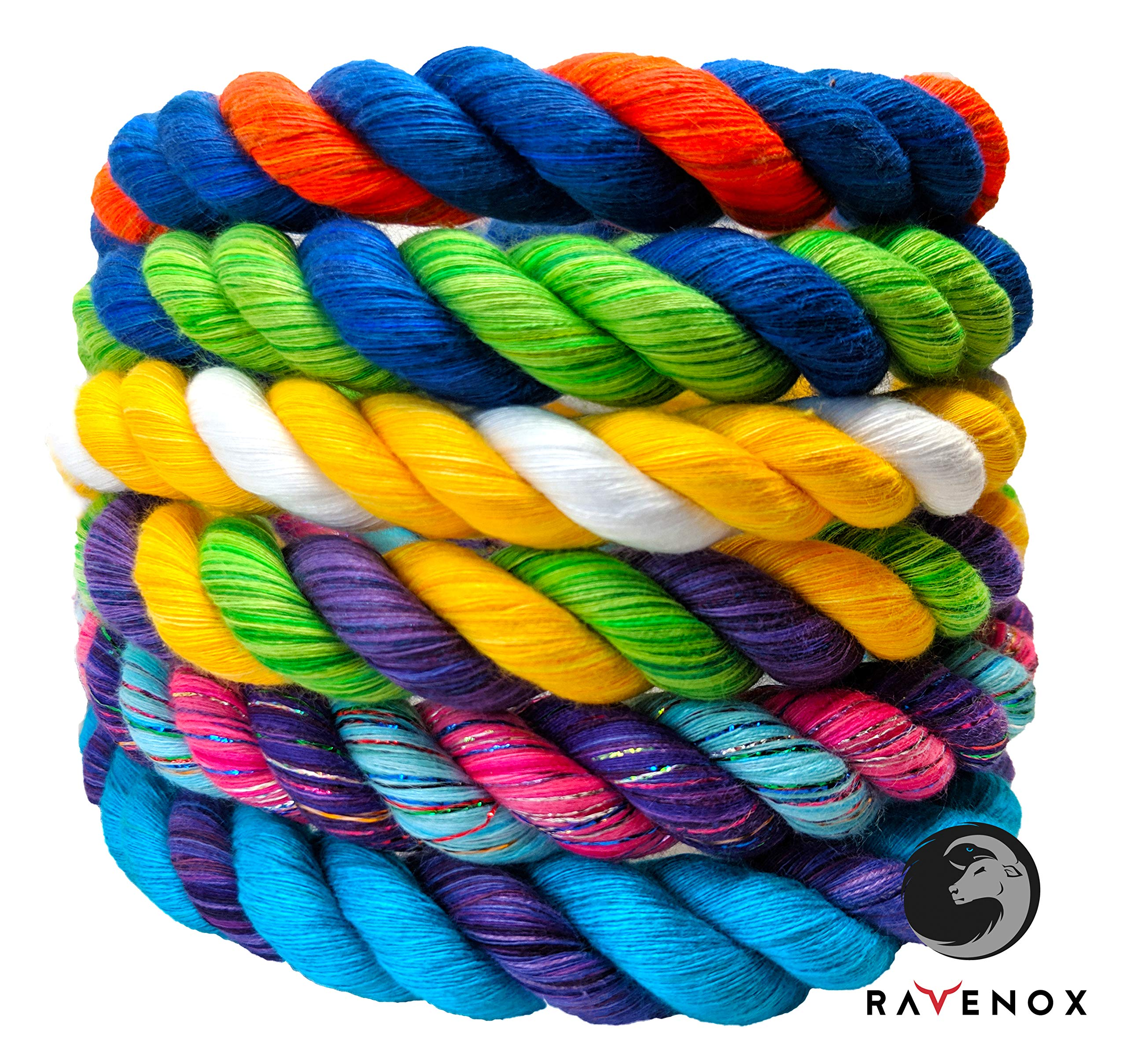 Ravenox Colorful Twisted Cotton Rope | Made in USA | (Red, Red & Black)(3/8 in x 100 ft) | Custom Color Cordage for Sport, Décor, Pet Toys, Craft, Macramé & General Use | Rope by The Foot & Diameter by Ravenox