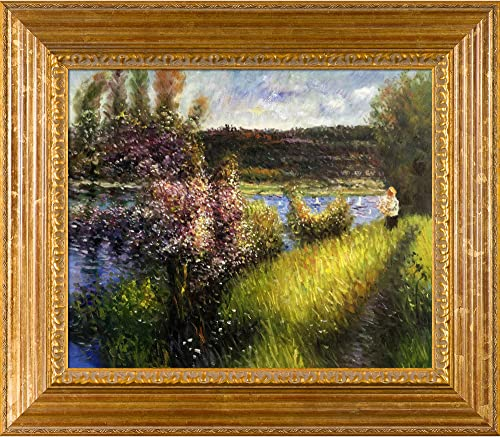 overstockArt Renoir The Seine at Chatou with Vienna Wood Frame Oil Painting, Gold Leaf Finish