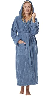Arus Women s GOTS Certified Organic Cotton Hooded Full Length Turkish  Bathrobe 62aef5962
