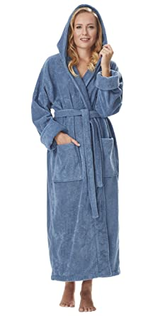 Arus Women s GOTS Certified Organic Cotton Hooded Full Length Turkish  Bathrobe 9fb9ea883