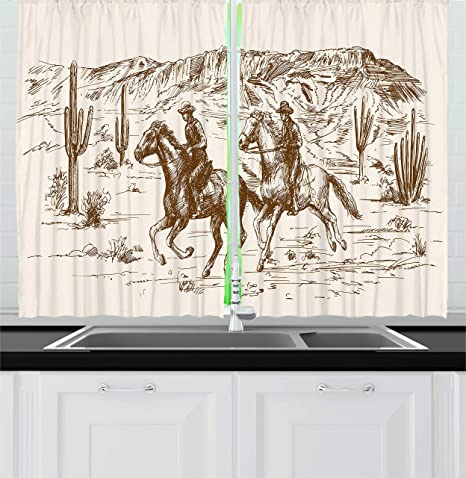 Ambesonne Western Kitchen Curtains Country Theme Hand Drawn Illustration Of American Wild West Desert With Cowboys Window Drapes 2 Panels Set For