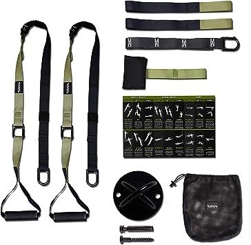 LITHIX Banda de entrenamiento resistente con anclaje para puerta y soporte de techo, eficaz equipamiento de gimnasio en casa, con asa para ...