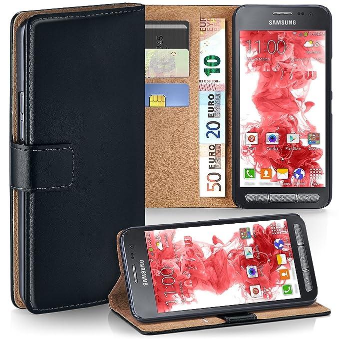 moex Samsung Galaxy Xcover 3 | Hülle Schwarz mit Karten-Fach 360° Book Klapp-Hülle Handytasche Kunst-Leder Handyhülle für Sam