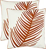 Safavieh Pillow Collection 18-Inch Fern Leaf Pillow, White and Rust, Set of 2