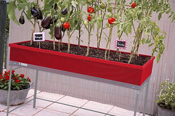 Huerto urbano de metal Green Passion 122x57x80 cm.Color rojo ...