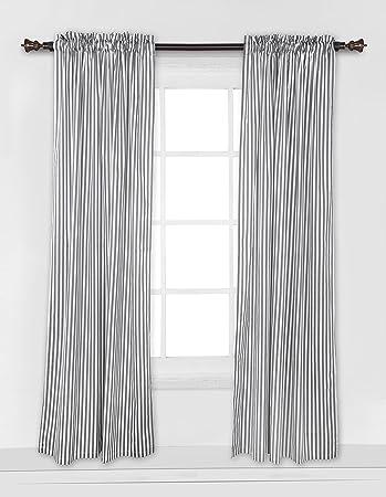 bacati grey pin stripes curtain panel