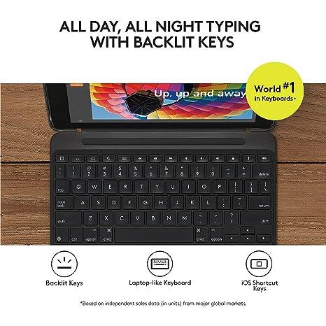 Logitech Slim Combo - Soporte para Apple iPad con Teclado Italiano retroiluminado, Color Negro: Amazon.es: Informática