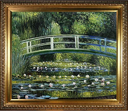 overstockArt Japanese Bridge with Elegant Gold Framed Oil Painting, 30 x 26 , Multi-Color