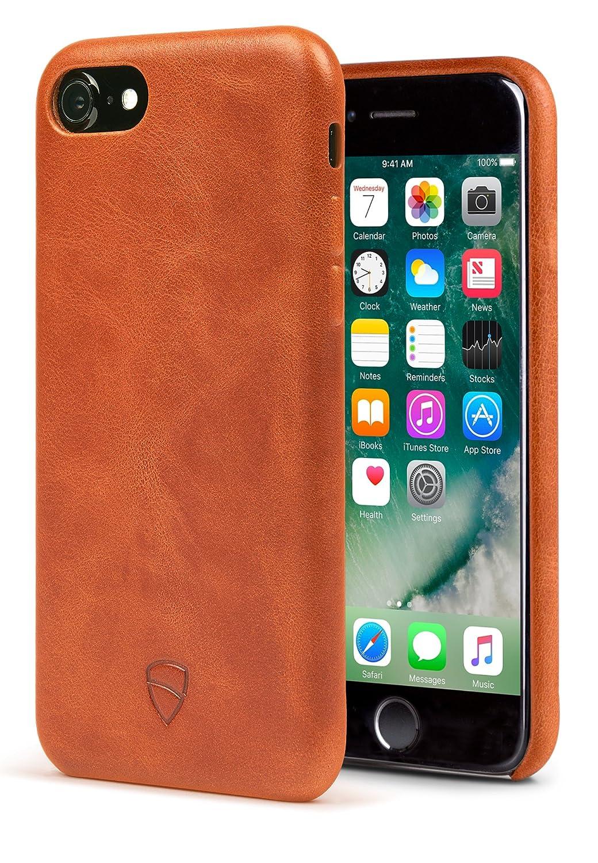 Premium Italian Leather Cognac iPhone 7 Bumper Case Ultra Slim Design Vaultskin SOHO Leather Wallet Case