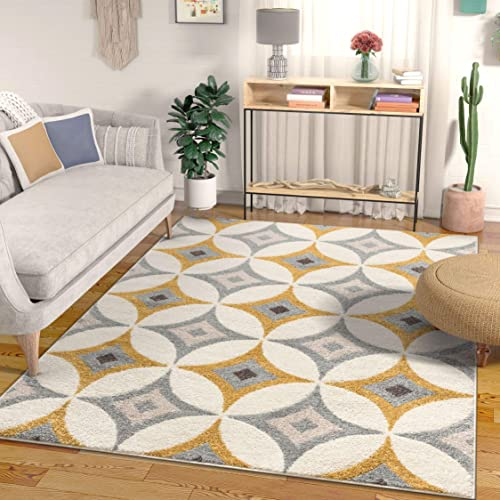 Well Woven Greyson Scanadnavian Retro Diamond Geometric Grey Gold Area Rug 8×11 7 10 x 9 10