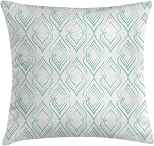 "Ambesonne Pale Blue Throw Pillow Cushion Cover, Abstract Pattern of Curvy Lines in Moroccan Style Retro Vintage Eastern, Decorative Square Accent Pillow Case, 20"" X 20"", Blue White"
