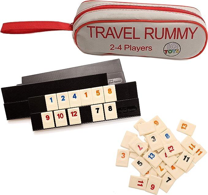 IQ Toys 106 fichas de Viaje Rummy en una Bolsa de Viaje Fuerte - para 2-4 Jugadores: Amazon.es: Juguetes y juegos