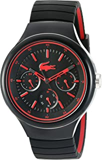 Lacoste Mens Borneo Quartz Resin and Silicone Casual Watch, Color:Black (