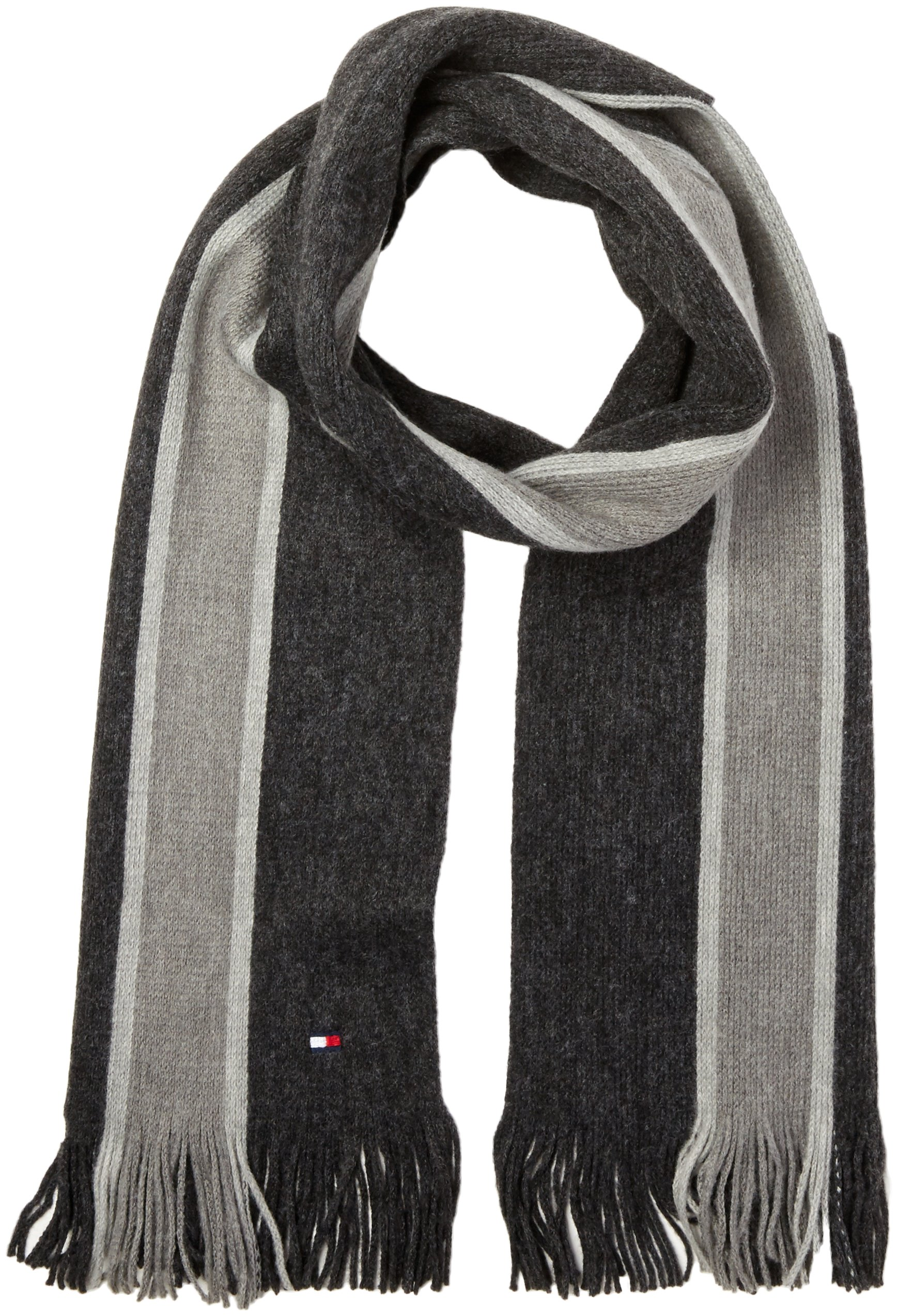 Tommy Hilfiger Men's Striped Scarf, charcoal, OS
