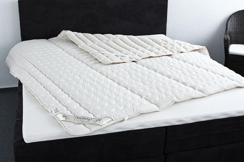 140 x 200 cm Surmatelas Badenia Bettcomfort Merino Perkal Blanc